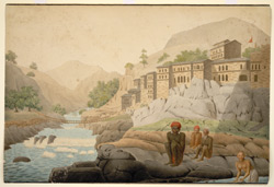 The village of Devaprayaga with a rope bridge across the Bagirathi Garhwal (U.P.). 11 May 1808